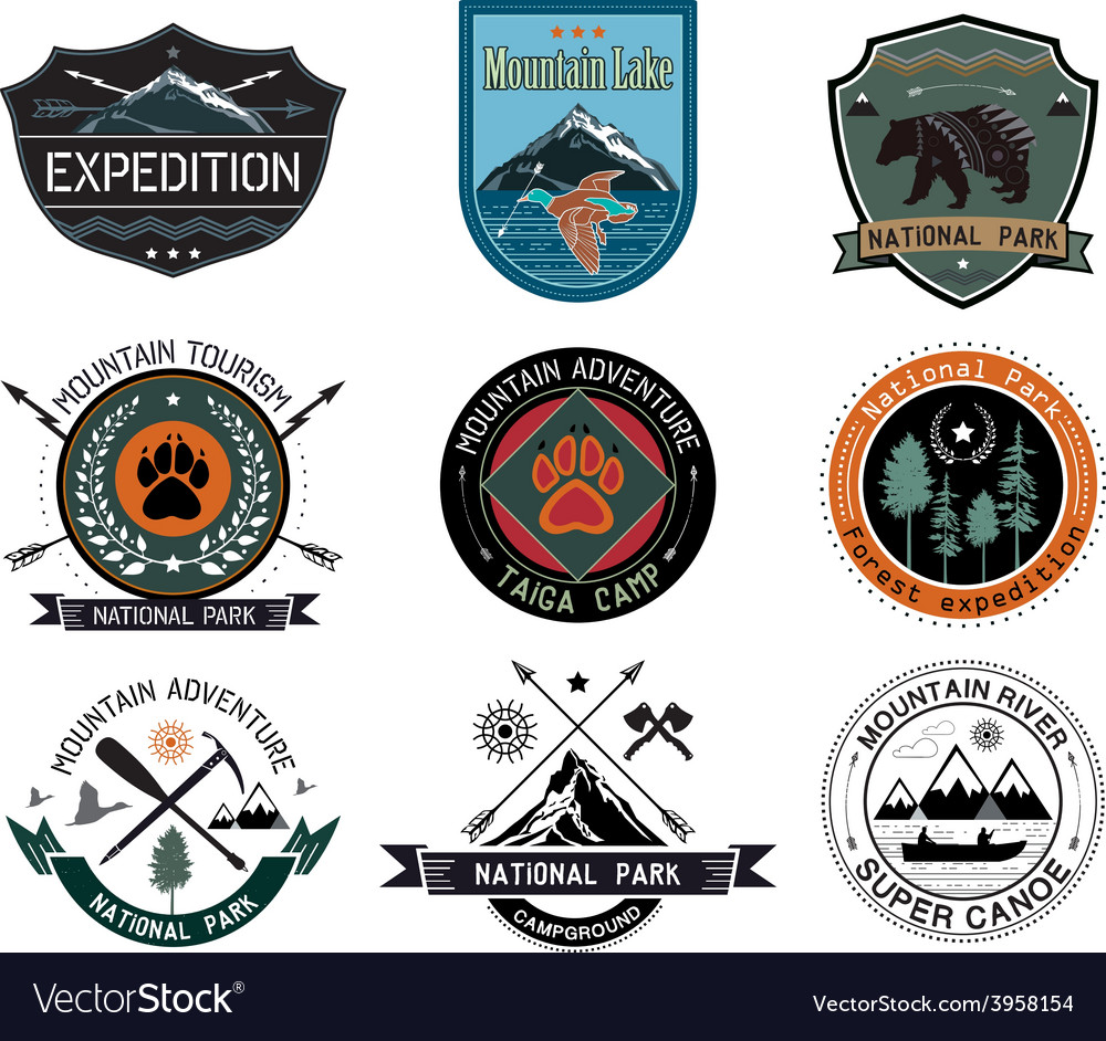Set of vintage camping and outdoor activity logo vector | Price: 1 Credit (USD $1)