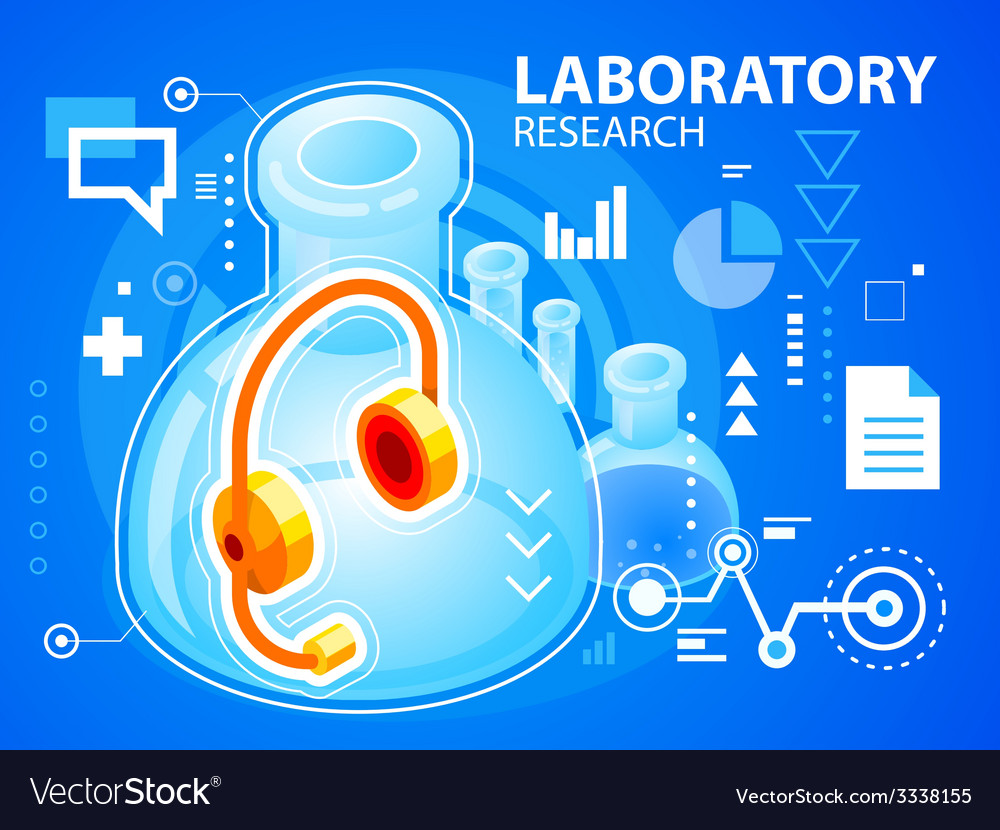 Bright laboratory research of head phone on vector | Price: 3 Credit (USD $3)