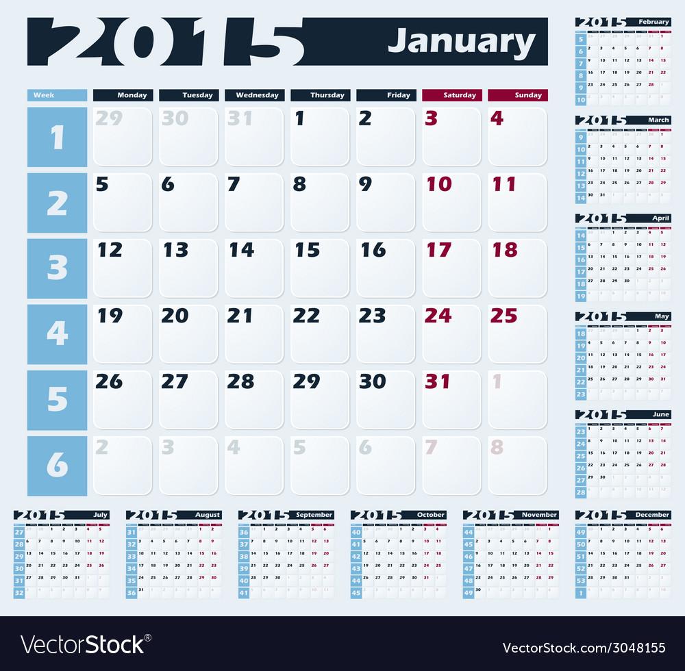 Calendar 2015 design template vector | Price: 1 Credit (USD $1)