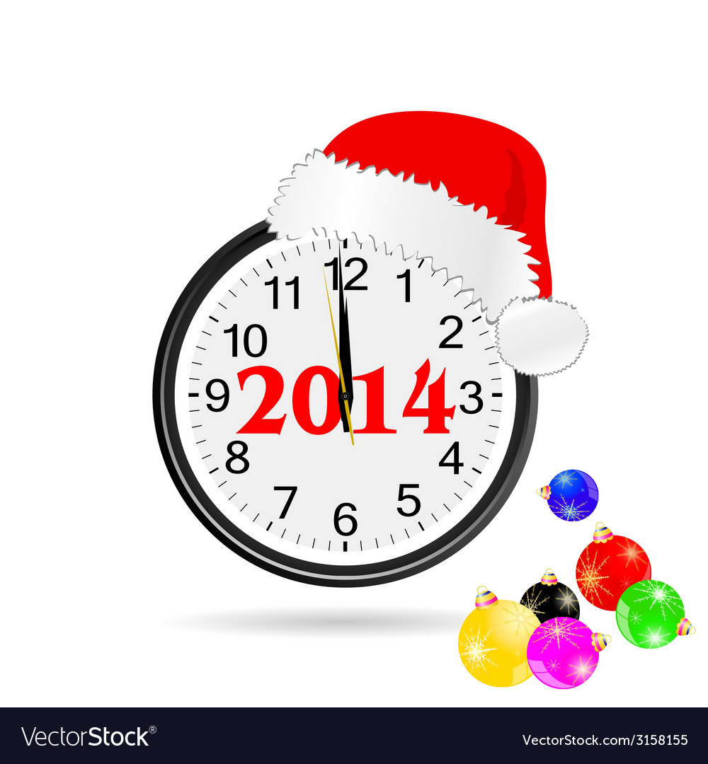 Christmas clock color vector | Price: 1 Credit (USD $1)