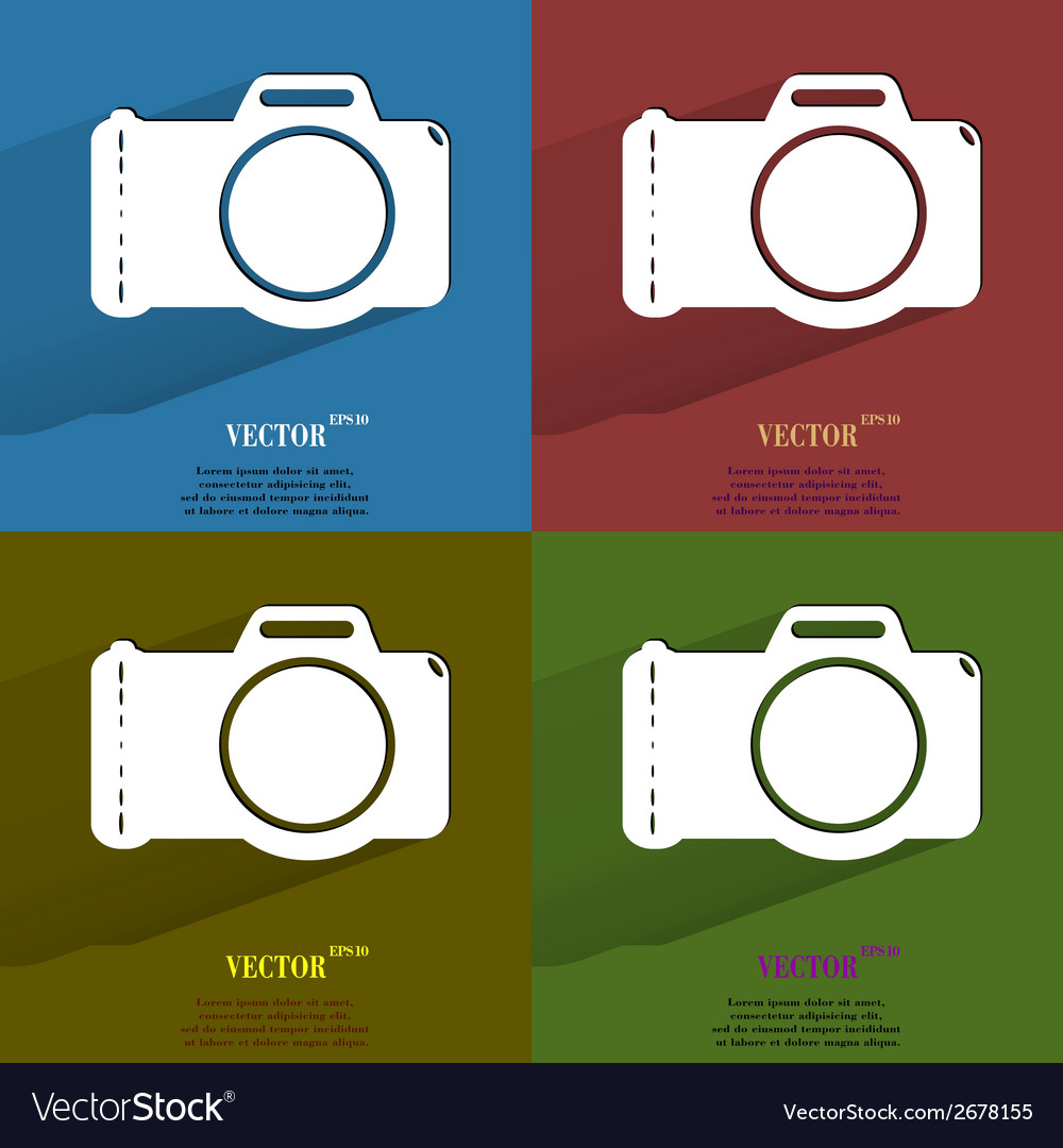 Color set photo camera flat modern web button with vector | Price: 1 Credit (USD $1)