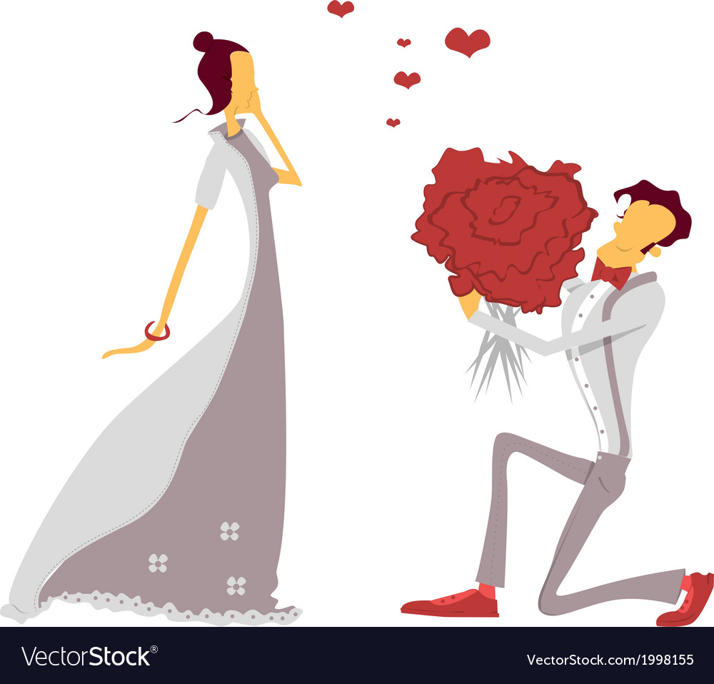 Couple in love lovers engagement vector | Price: 1 Credit (USD $1)