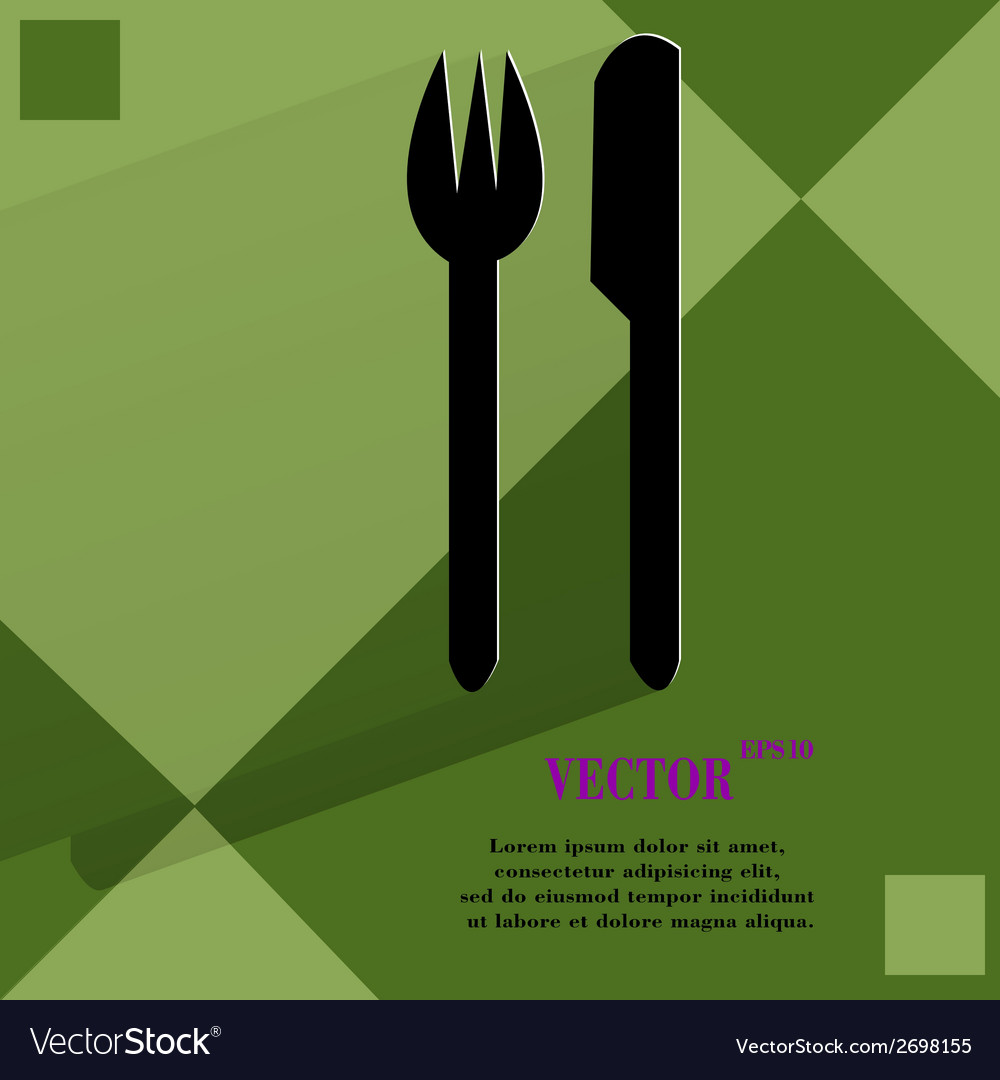 Cutlery knife fork flat modern web design on a vector | Price: 1 Credit (USD $1)