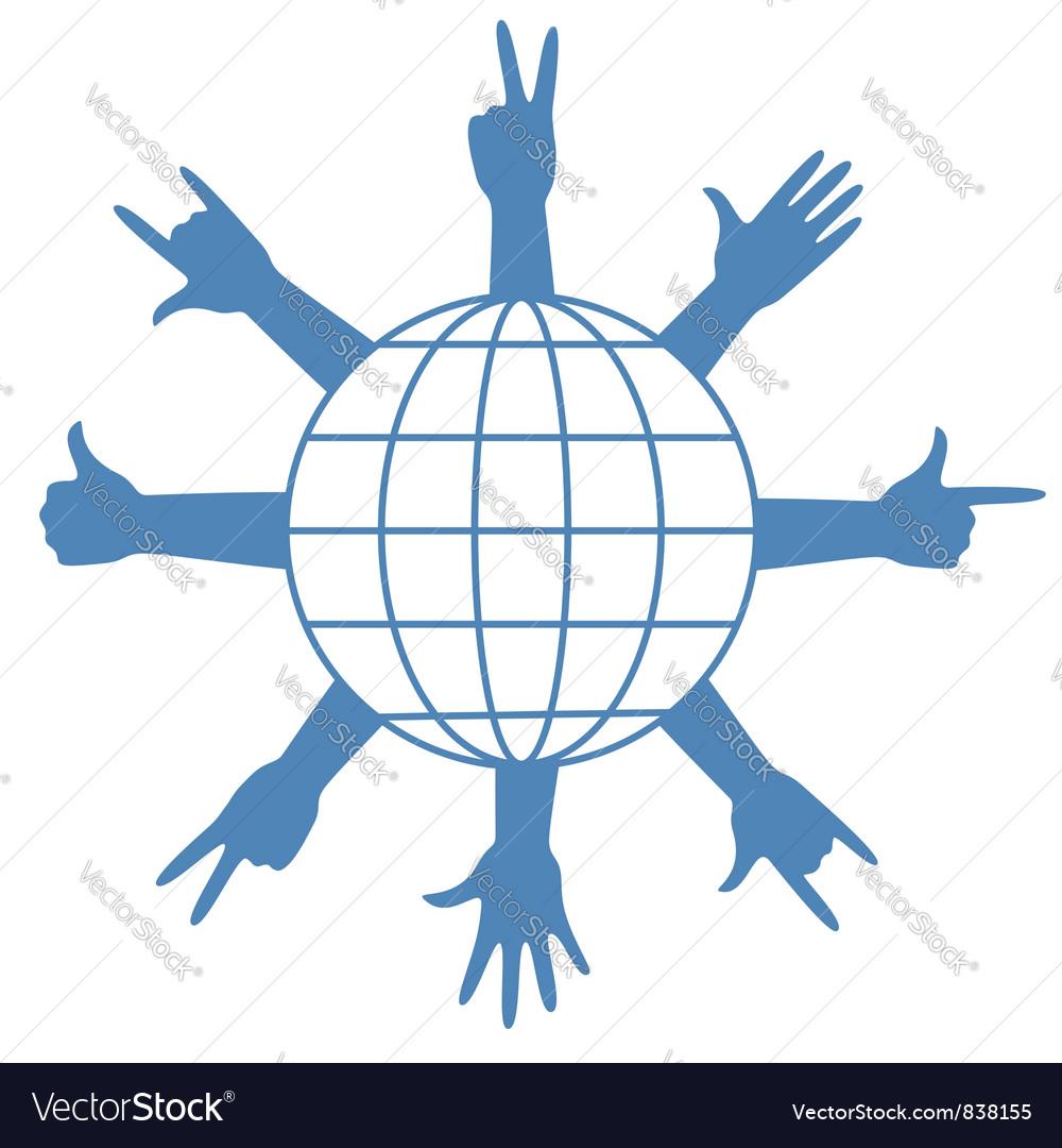 Finger signs around globe vector | Price: 1 Credit (USD $1)