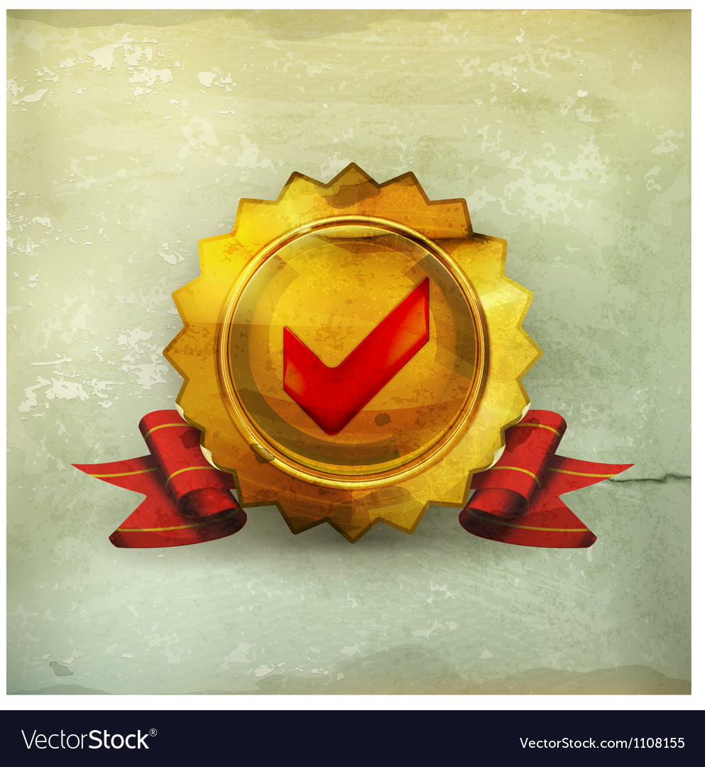 Golden emblem with check mark old-style vector | Price: 1 Credit (USD $1)