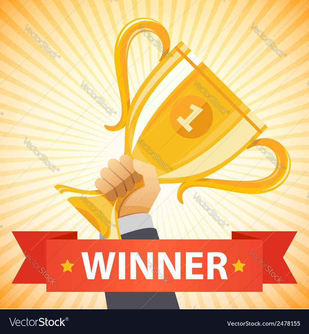 Hand holding winners trophy award vector | Price: 1 Credit (USD $1)