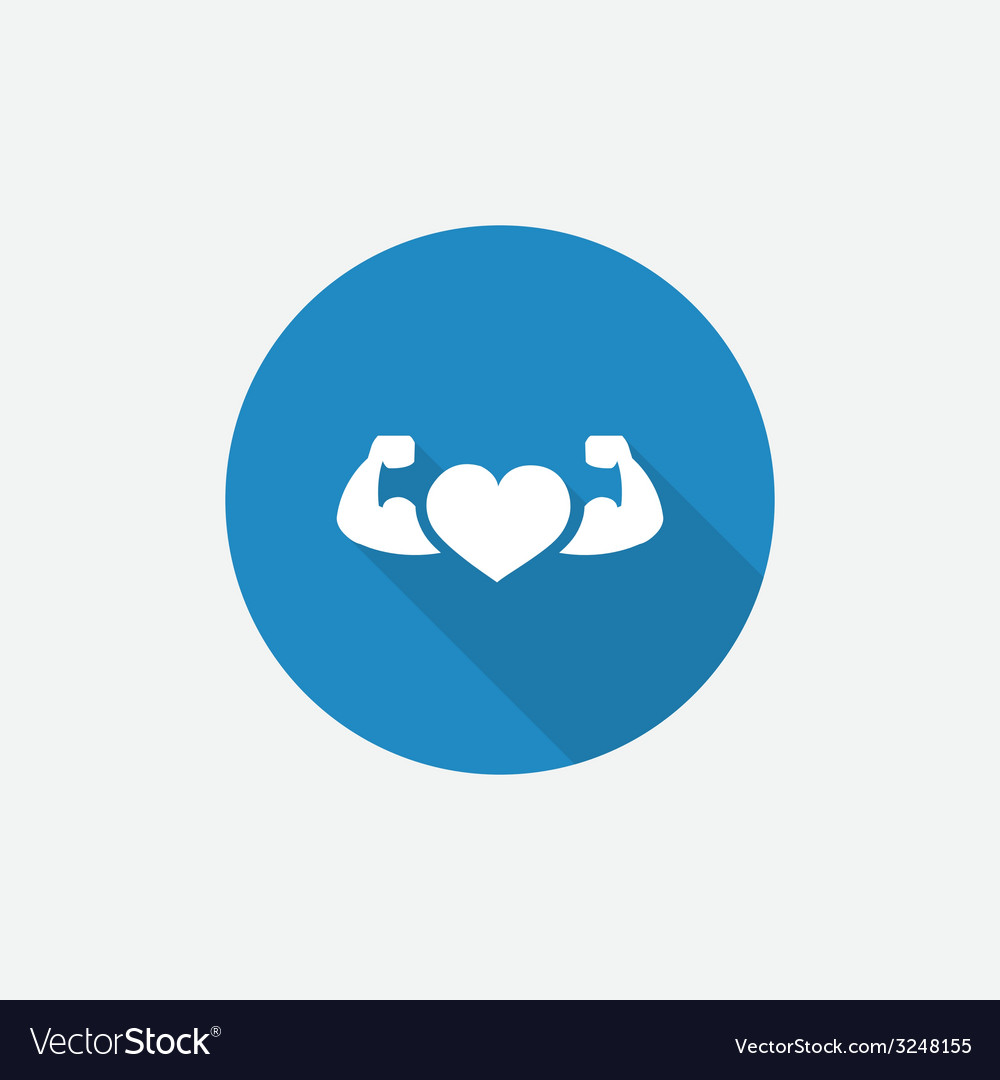 Heart with muscle arms flat blue simple icon with vector | Price: 1 Credit (USD $1)