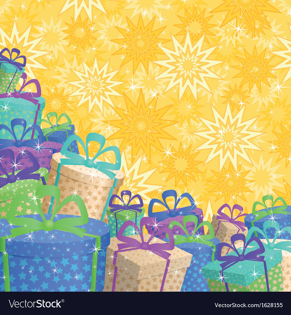Holiday gift boxes background vector | Price: 1 Credit (USD $1)