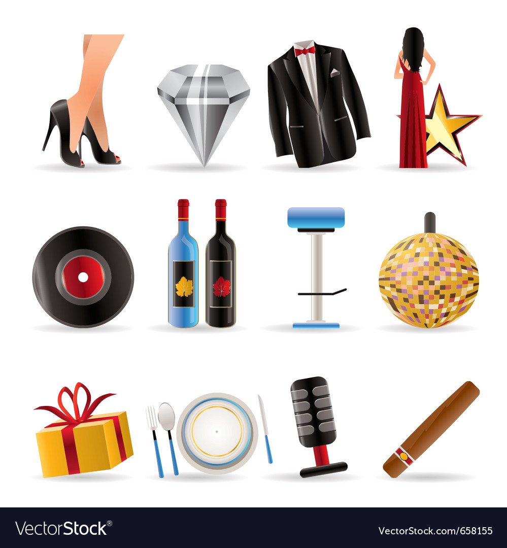 Luxury party and reception icons vector | Price: 1 Credit (USD $1)
