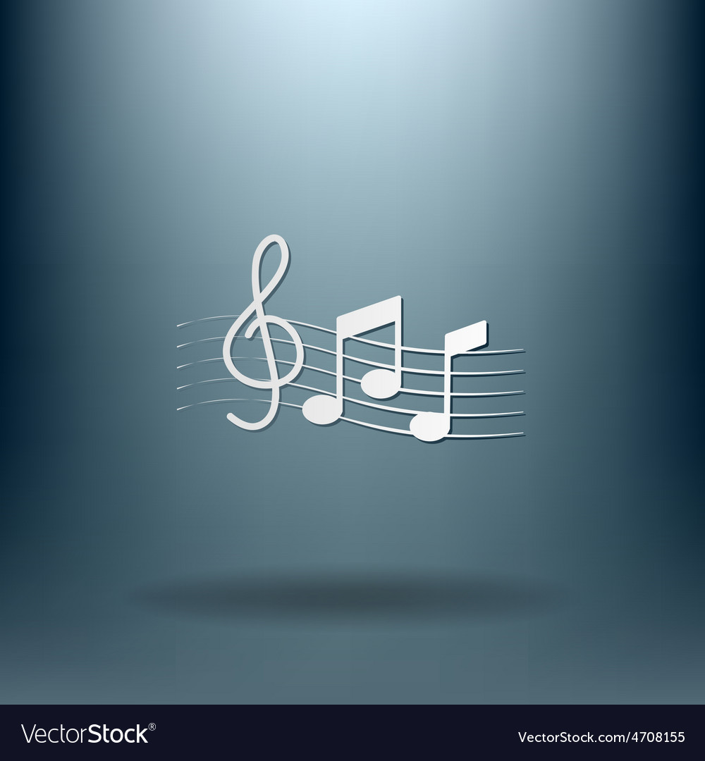 Musical notes and treble clef vector   Price: 1 Credit (USD $1)