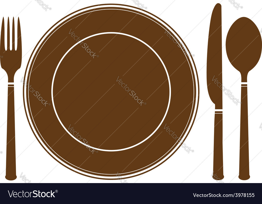 Plate knife and fork icon vector | Price: 1 Credit (USD $1)