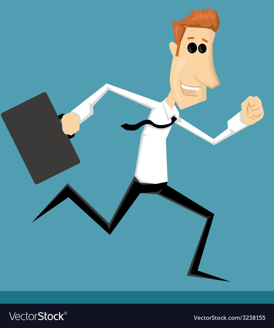 Running cartoon office worker vector | Price: 1 Credit (USD $1)