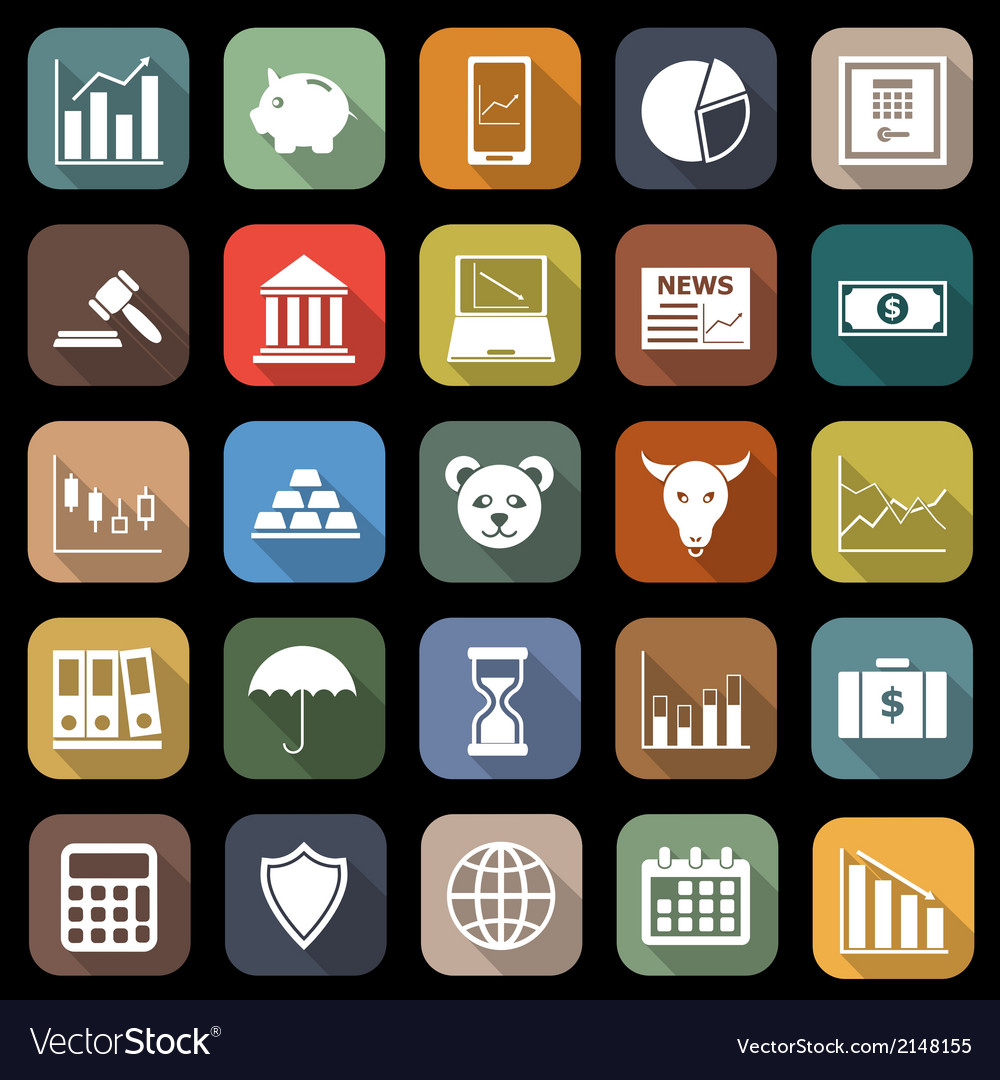 Stock market flat icons with long shadow vector | Price: 1 Credit (USD $1)
