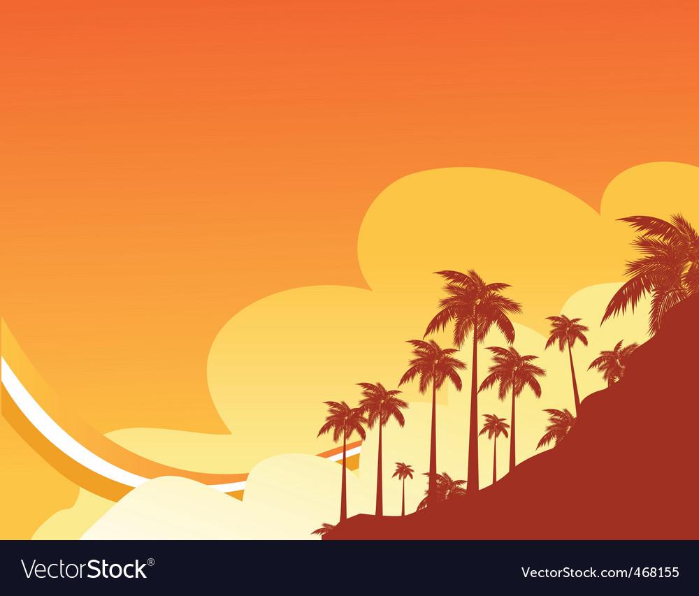 Sunset beach vector | Price: 1 Credit (USD $1)