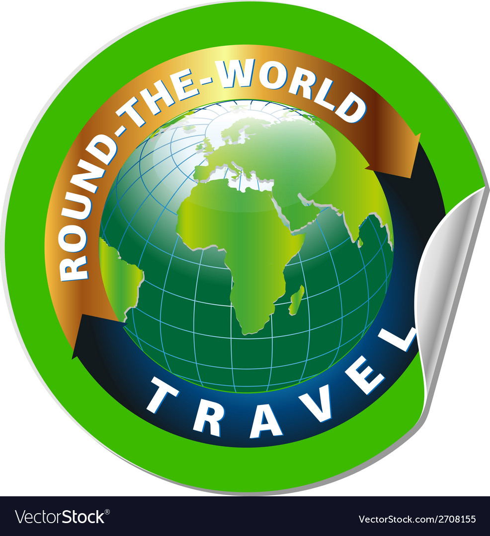 Travel round the world symbol with green earth vector | Price: 1 Credit (USD $1)