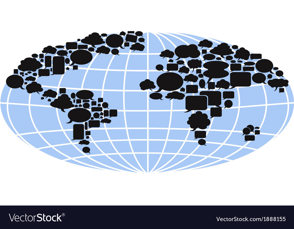 World map filled with speech bubbles vector | Price: 1 Credit (USD $1)