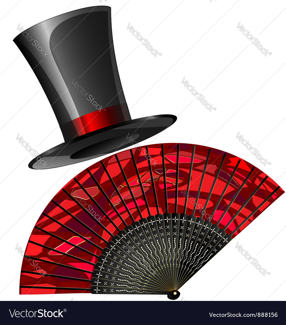 Black top hat and red fan vector | Price: 3 Credit (USD $3)