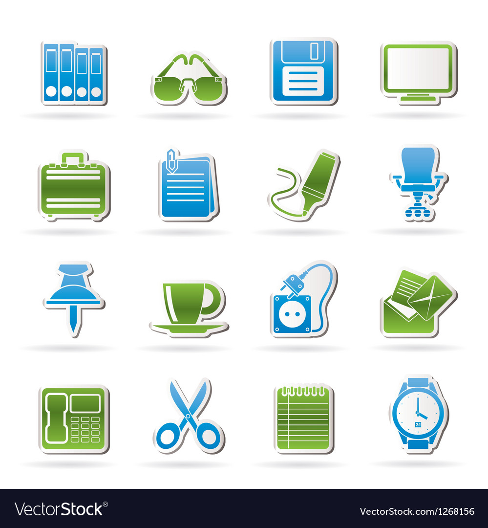 Business and office objects icons vector | Price: 1 Credit (USD $1)