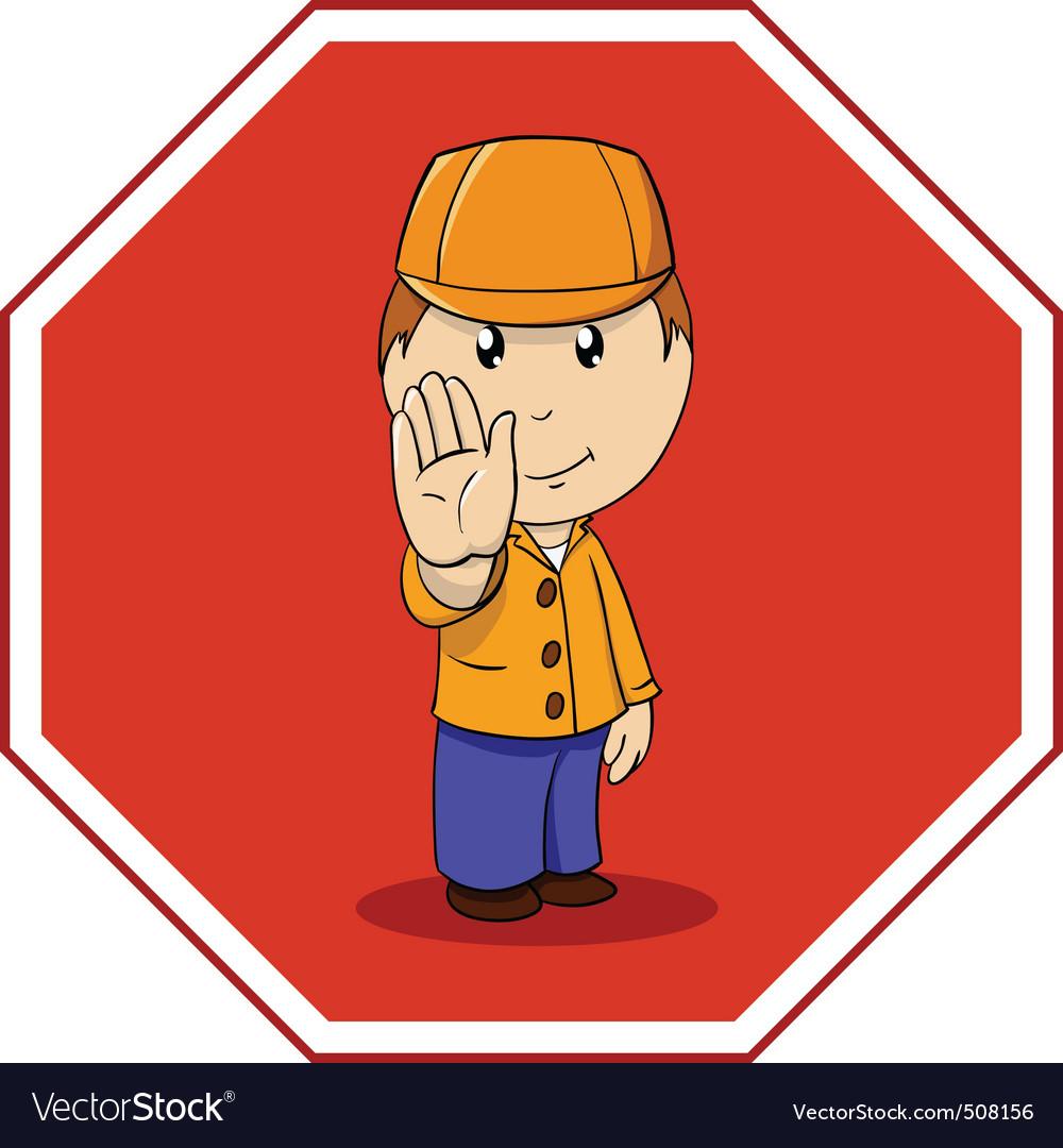 Cartoon warning sign stop with man in orange vector | Price: 1 Credit (USD $1)