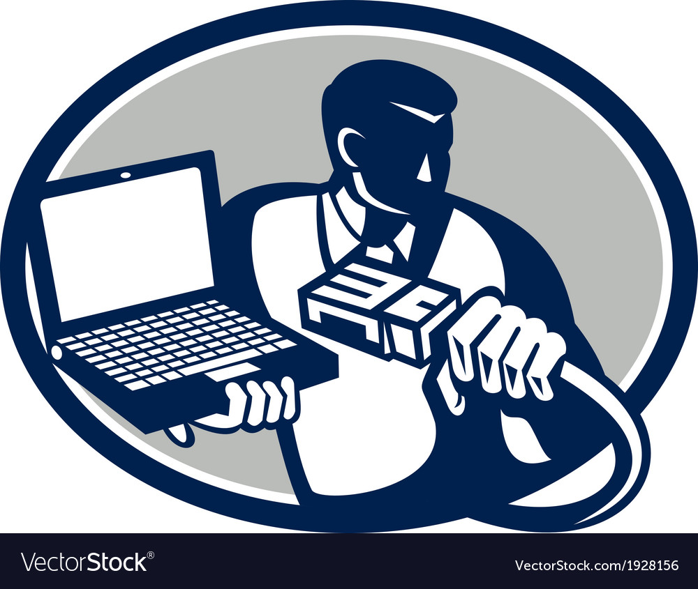Computer technician holding laptop cable retro vector | Price: 1 Credit (USD $1)