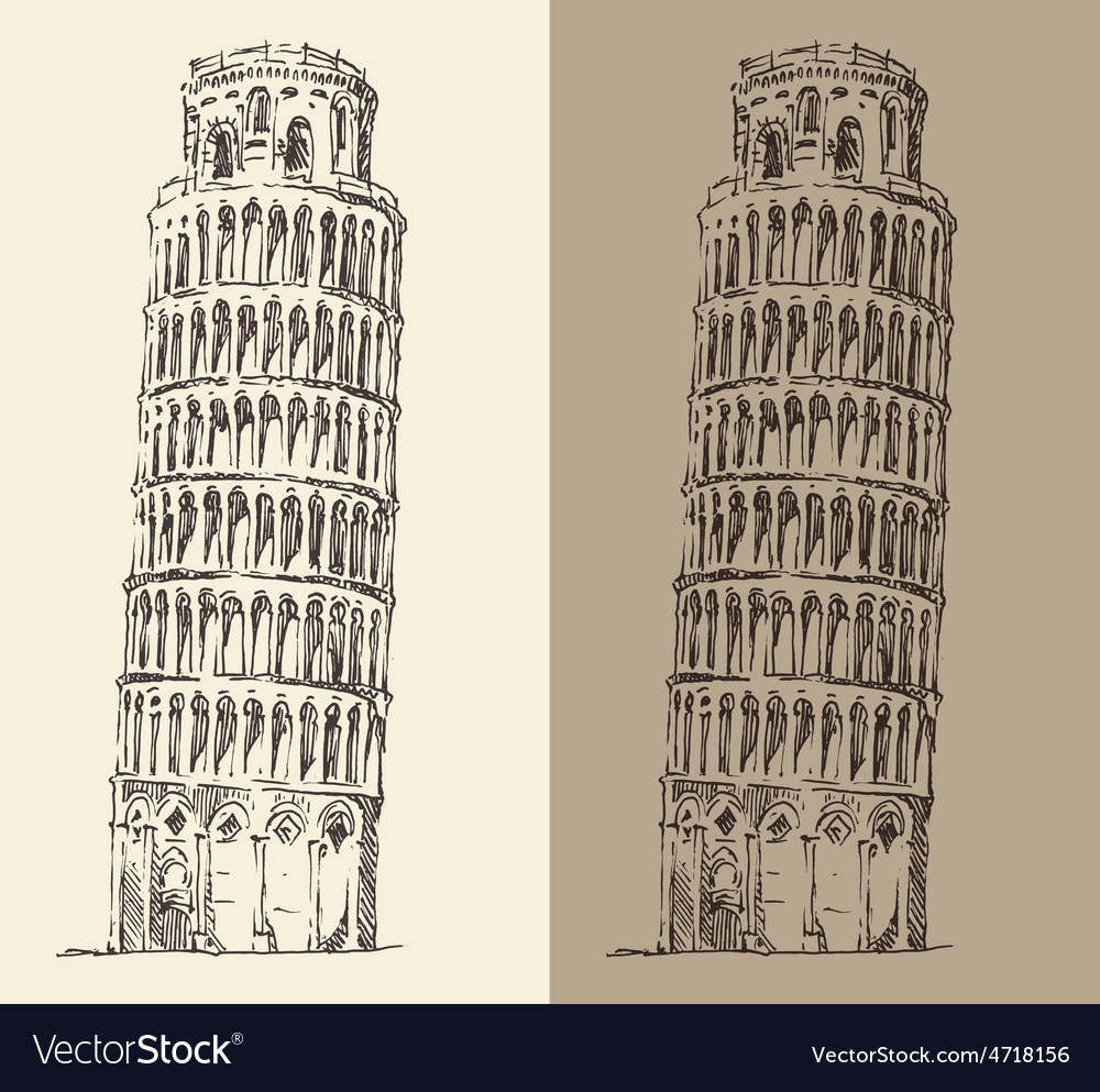 Leaning tower of pisa and cathedral italy vector | Price: 1 Credit (USD $1)