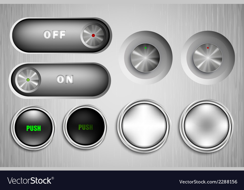 Metal buttons on and off vector | Price: 1 Credit (USD $1)