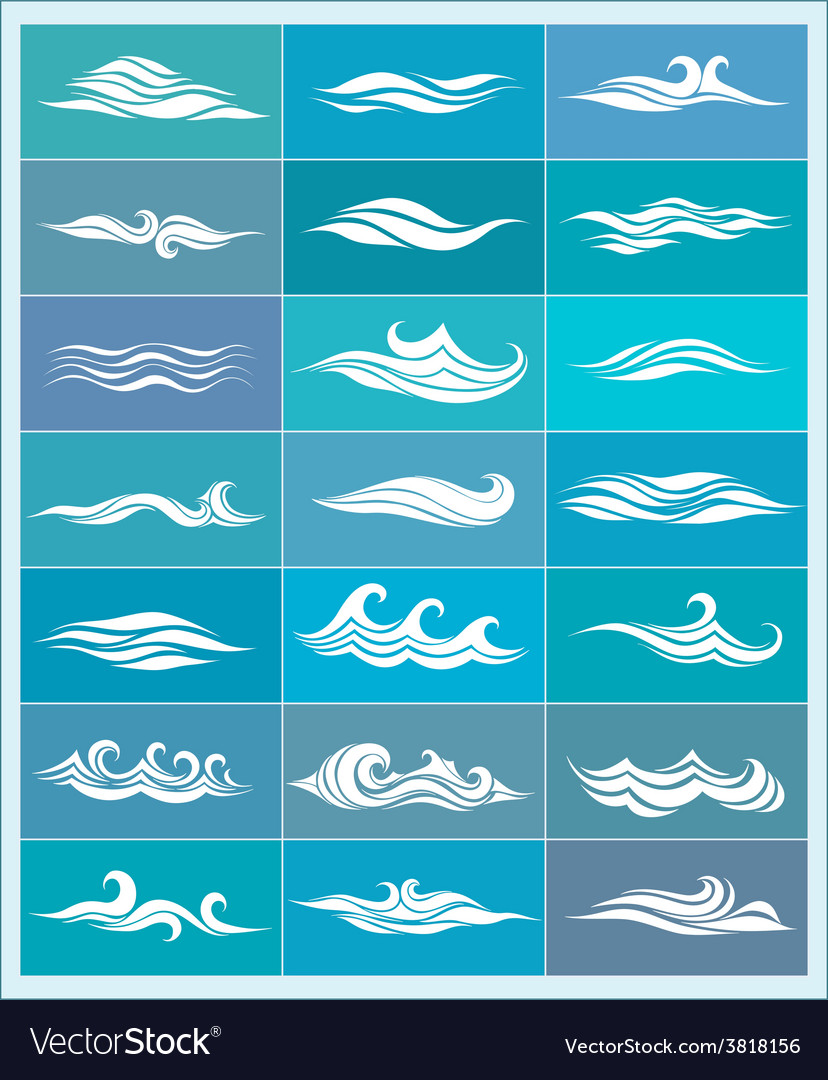Set icons stylized waves vector | Price: 1 Credit (USD $1)