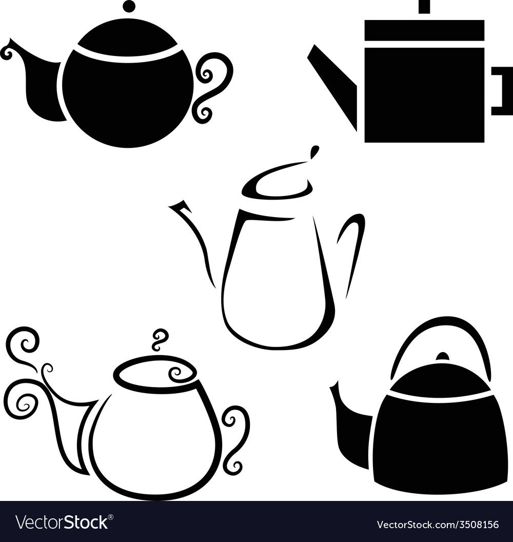 Set isolated icon kettles teapots coffee pot vector | Price: 1 Credit (USD $1)
