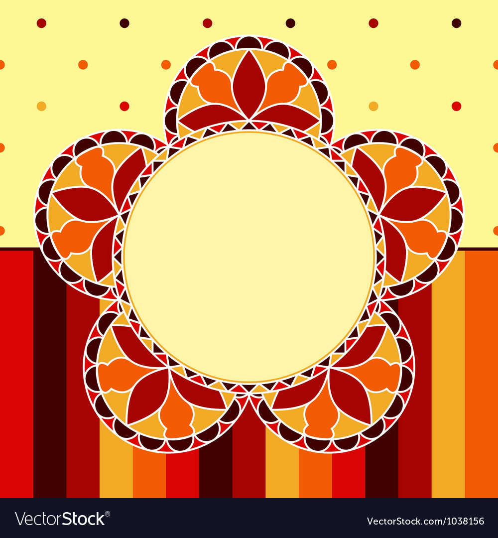 Stained glass flower card vector | Price: 1 Credit (USD $1)