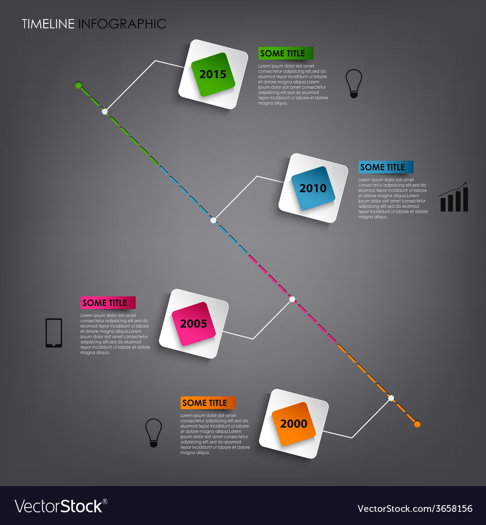 Time line info graphic colored square element vector   Price: 1 Credit (USD $1)