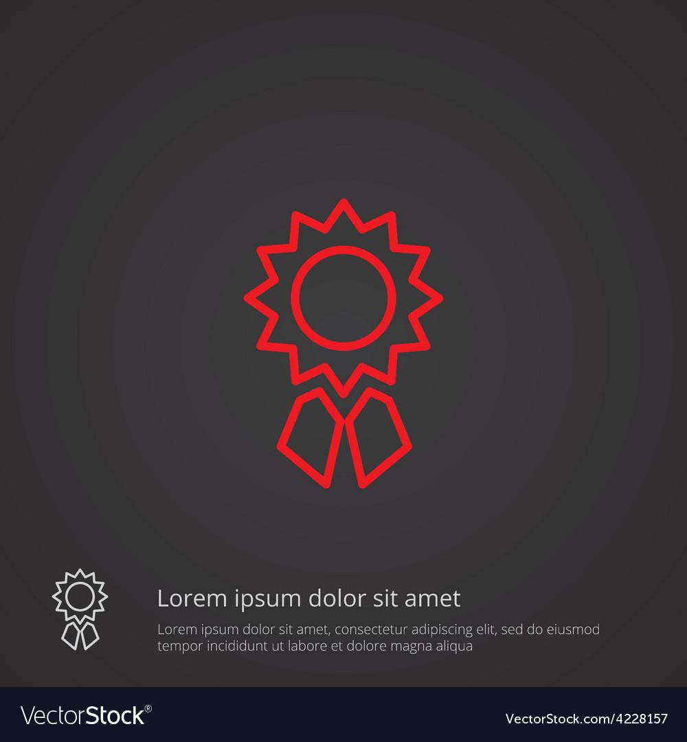 Achievement outline symbol red on dark background vector   Price: 1 Credit (USD $1)