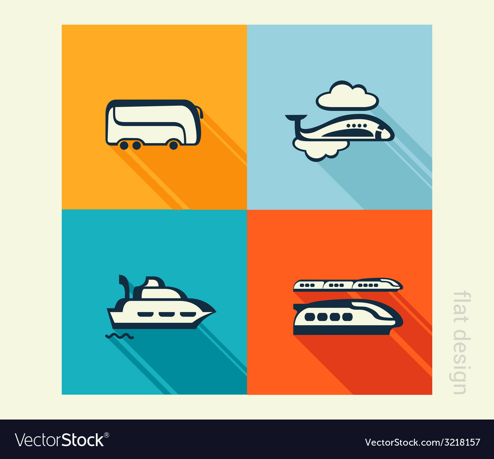 Business icon set transport traveling tourism flat vector | Price: 1 Credit (USD $1)