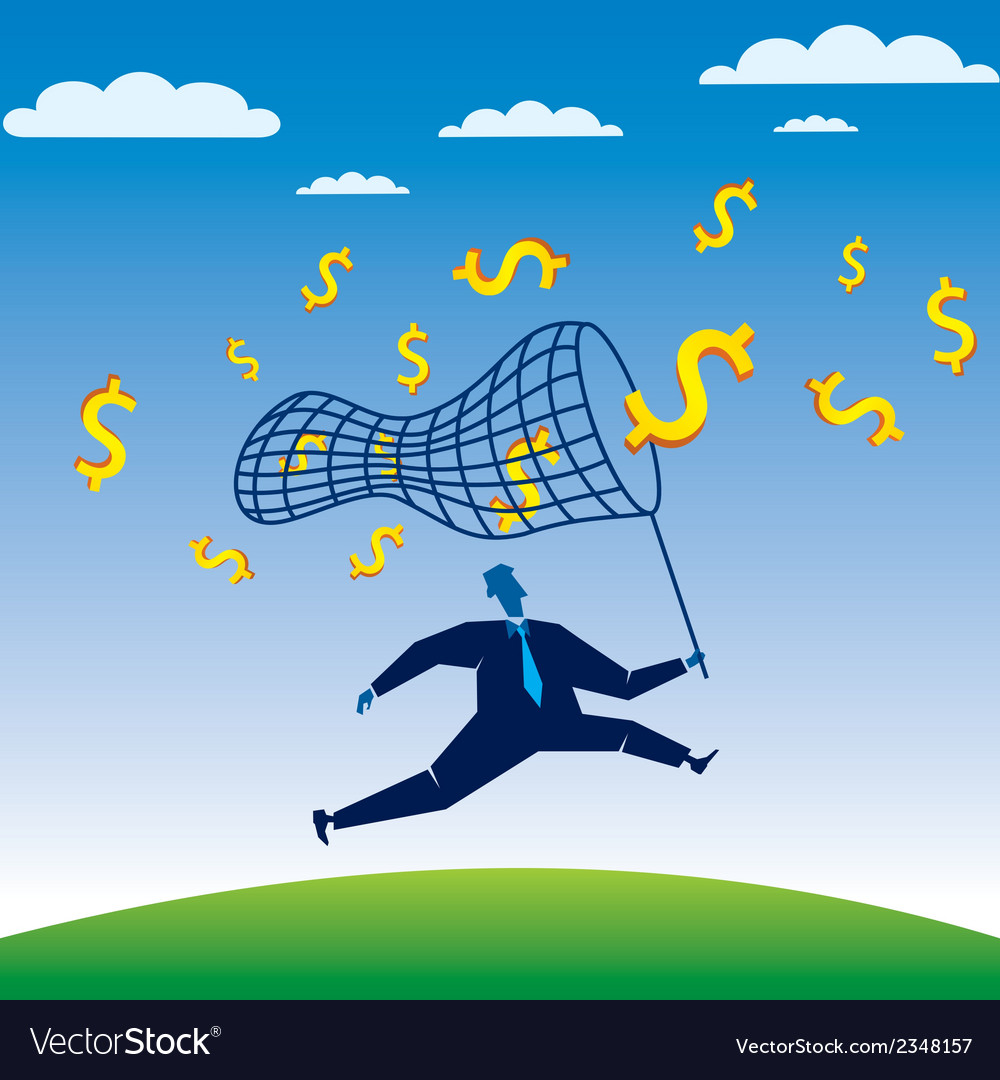 Businessmen run to catch the dollar vector | Price: 1 Credit (USD $1)