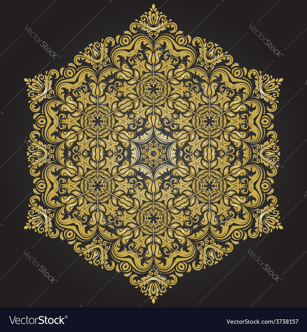 Damask pattern orient golden ornament vector | Price: 1 Credit (USD $1)