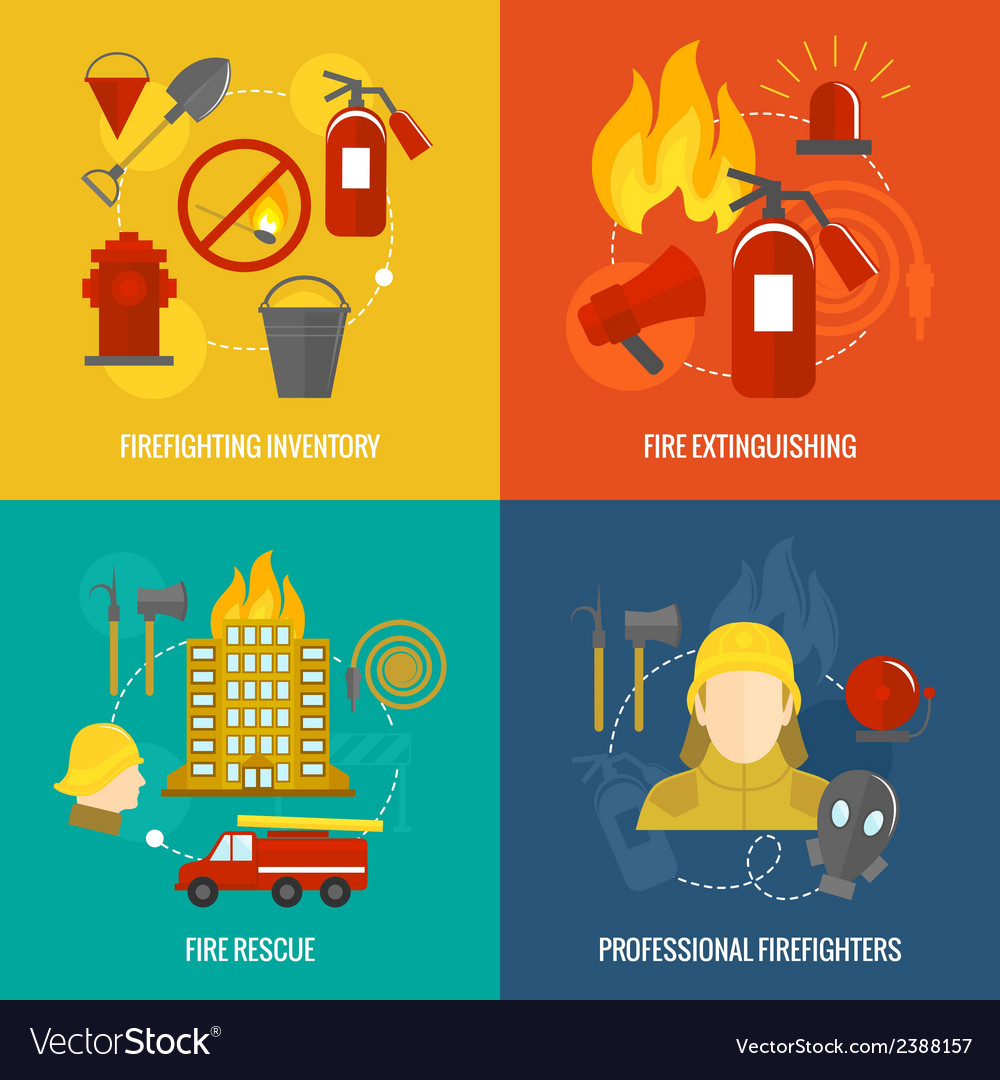 Firefighting icons composition vector | Price: 1 Credit (USD $1)