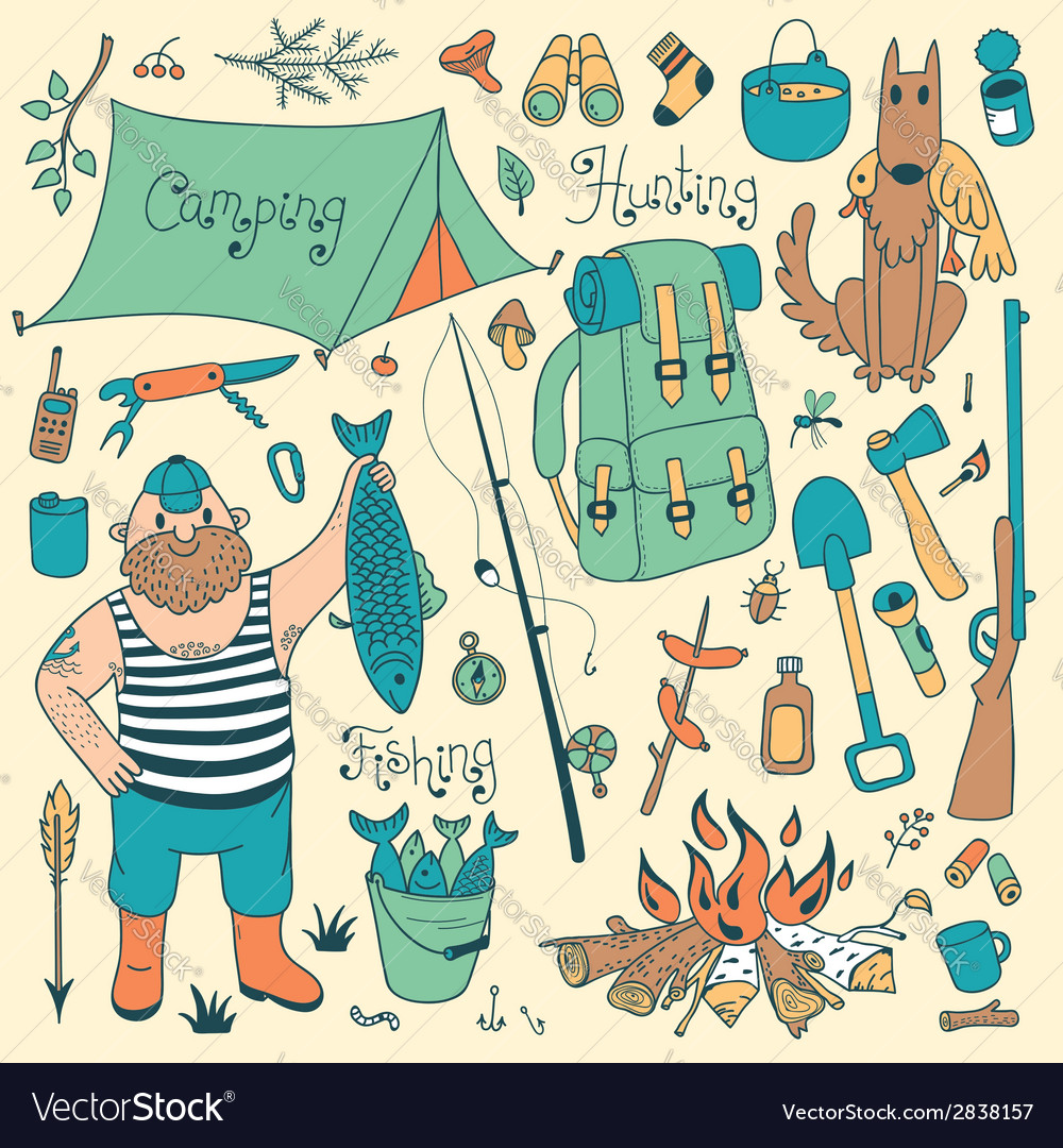 Fishing hunting camping set vector | Price: 1 Credit (USD $1)