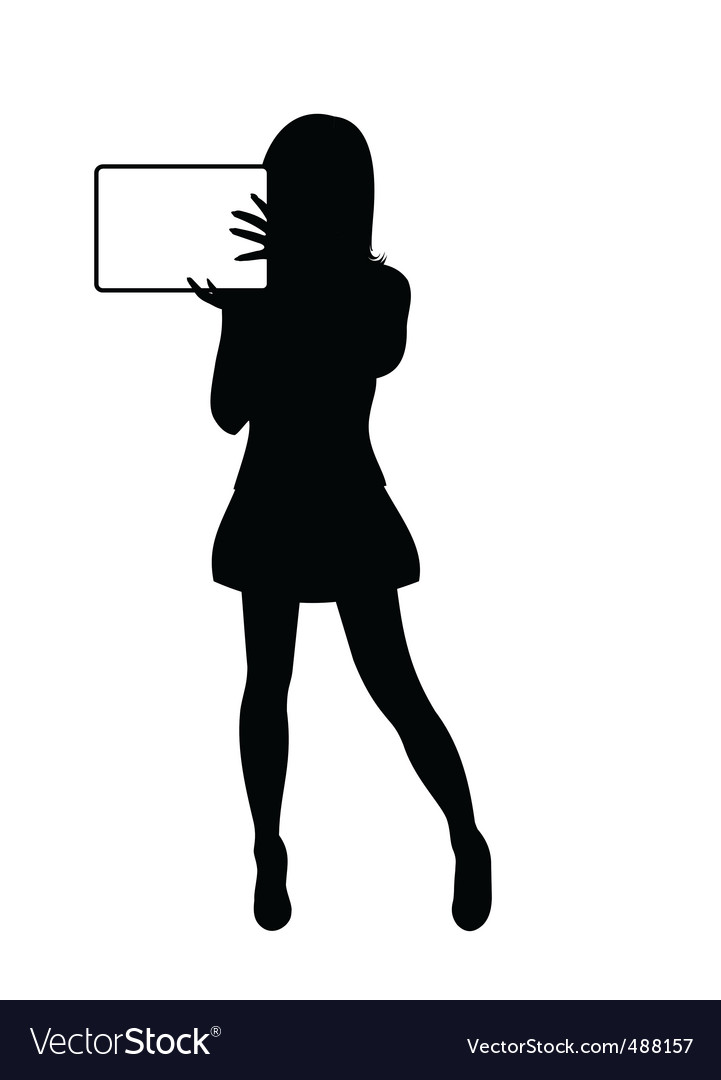 Girl silhouette with banner isolated vector | Price: 1 Credit (USD $1)