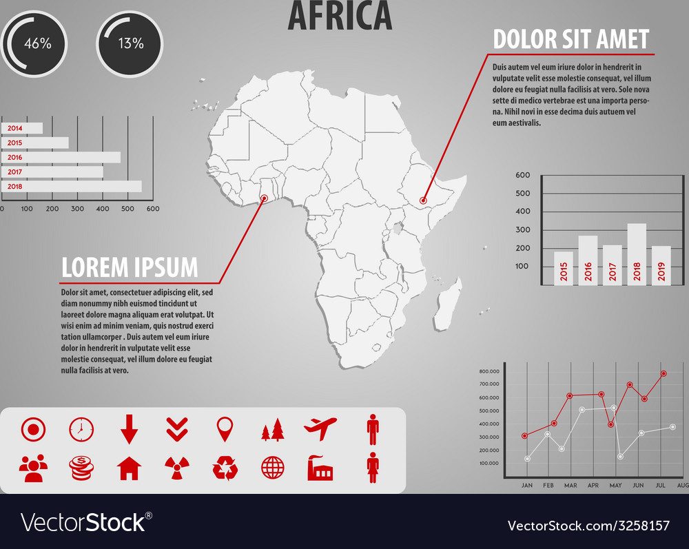 Map of africa - infographic vector | Price: 1 Credit (USD $1)