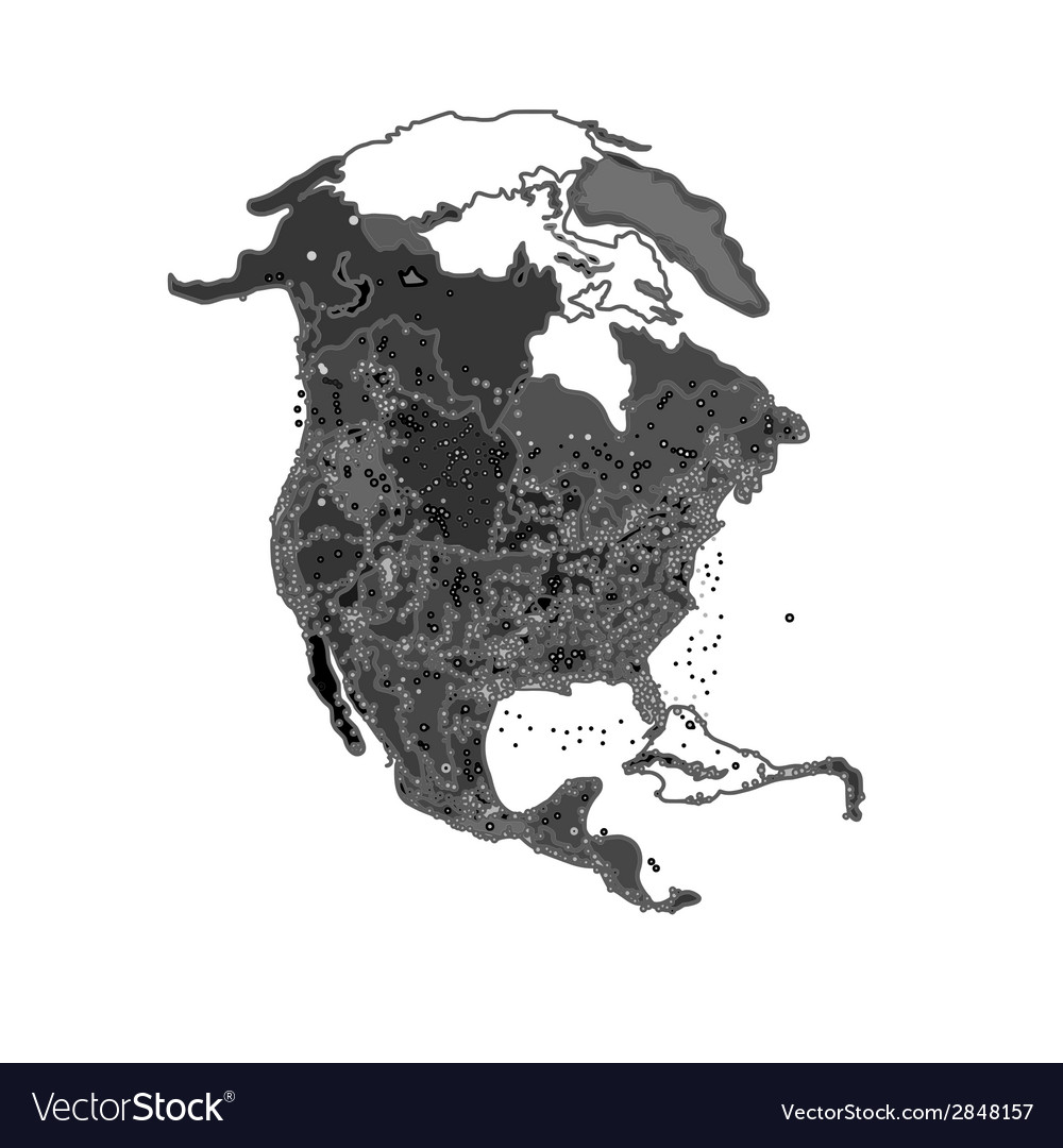 North america at night as engraving vector | Price: 1 Credit (USD $1)