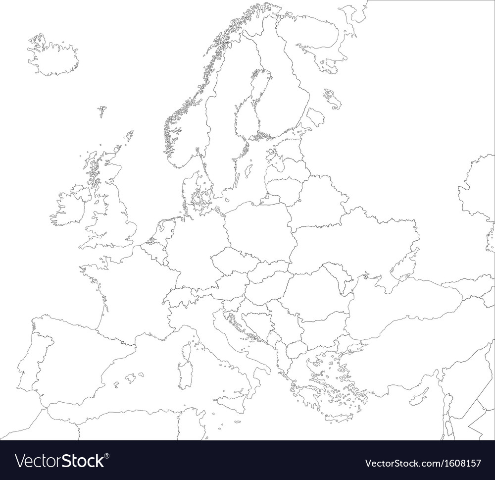 Outline europe map vector | Price: 1 Credit (USD $1)