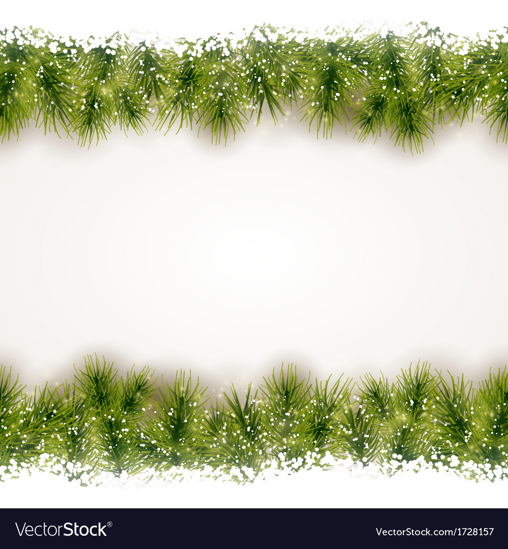 Seamless border of fir twigs with snow vector | Price: 1 Credit (USD $1)