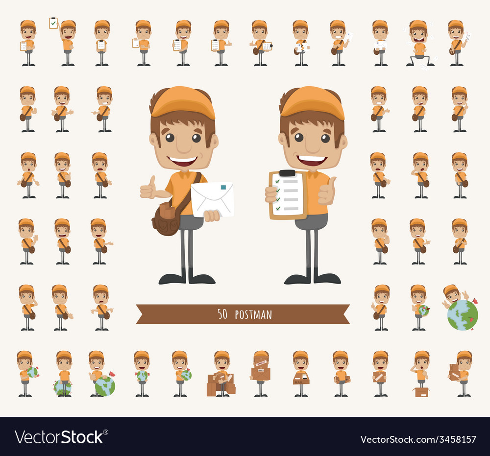 Set of postman character vector | Price: 1 Credit (USD $1)
