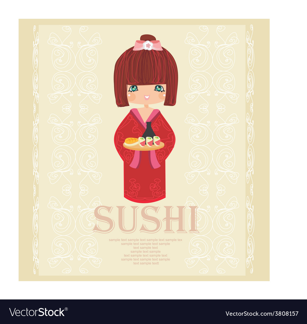 Sweet asian girl enjoy sushi - menu card vector | Price: 1 Credit (USD $1)