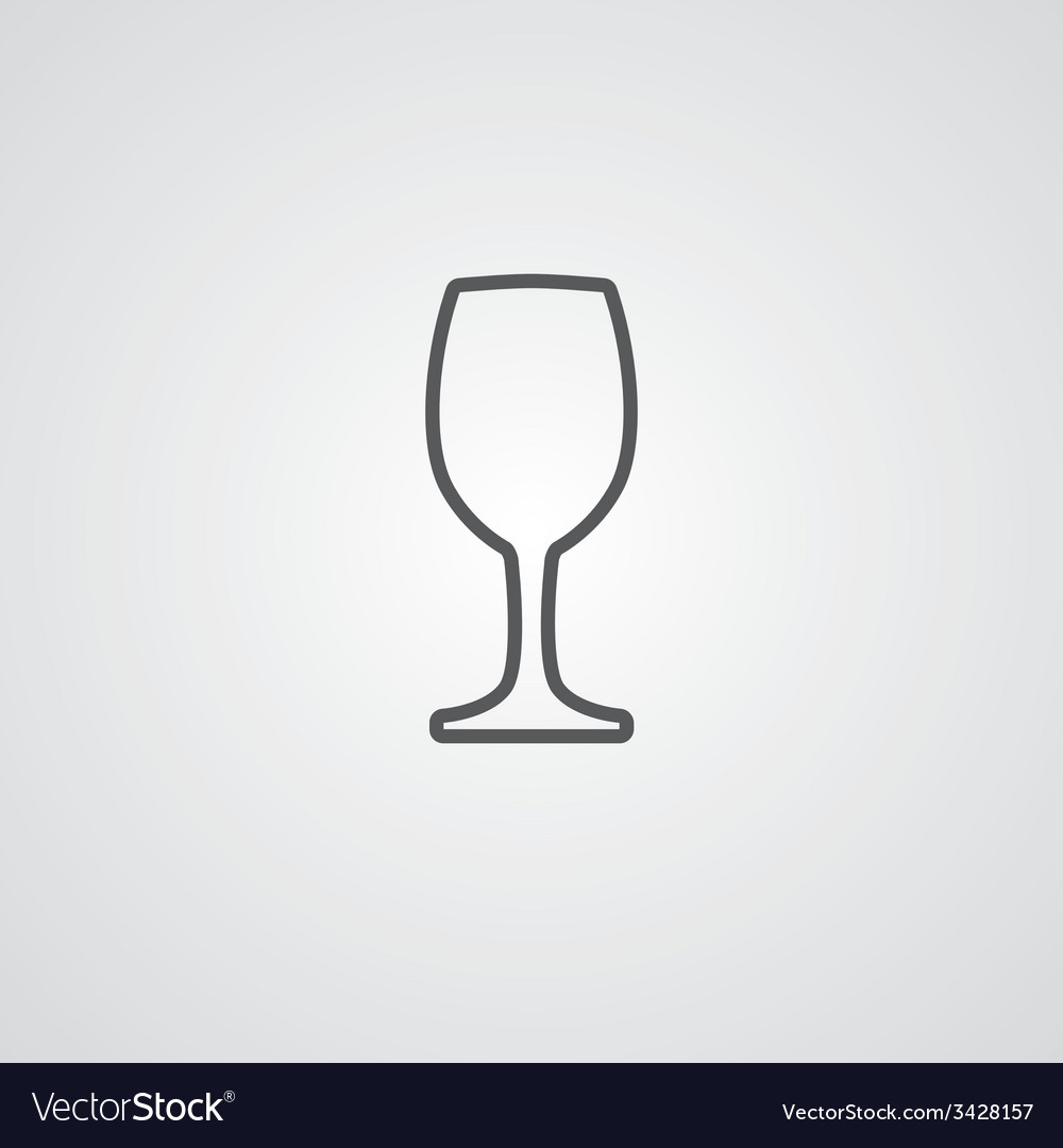Wineglass outline symbol dark on white background vector | Price: 1 Credit (USD $1)
