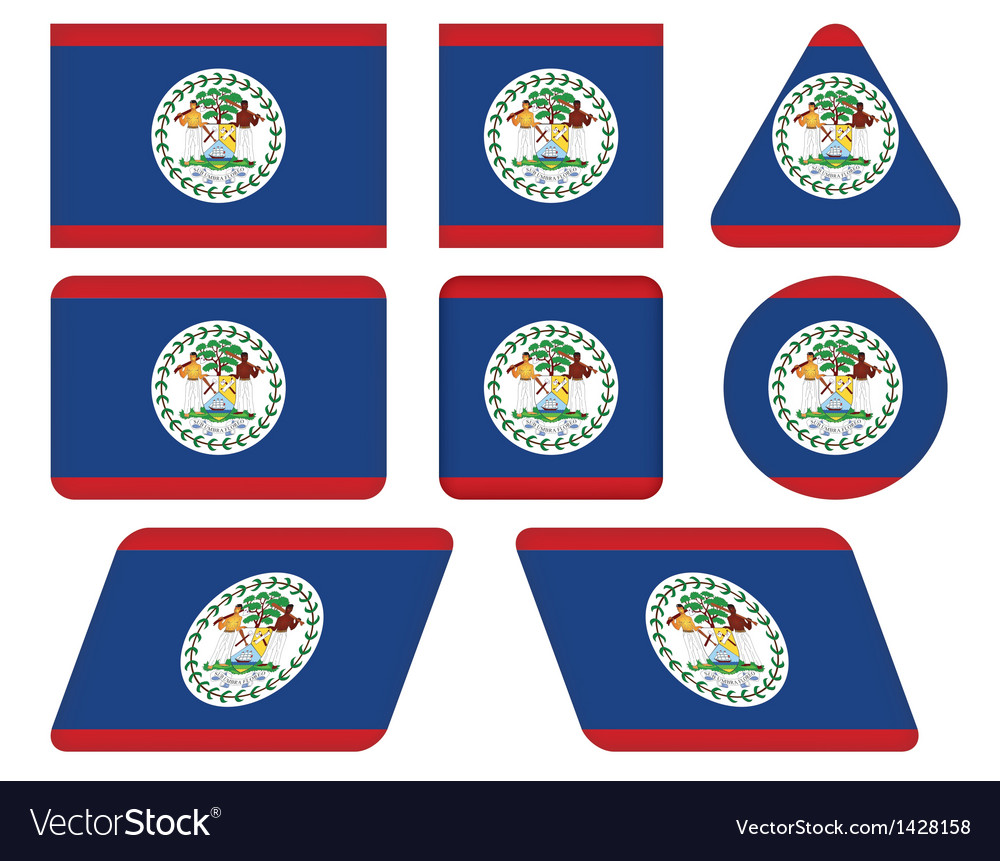 Buttons with flag of belize vector | Price: 1 Credit (USD $1)