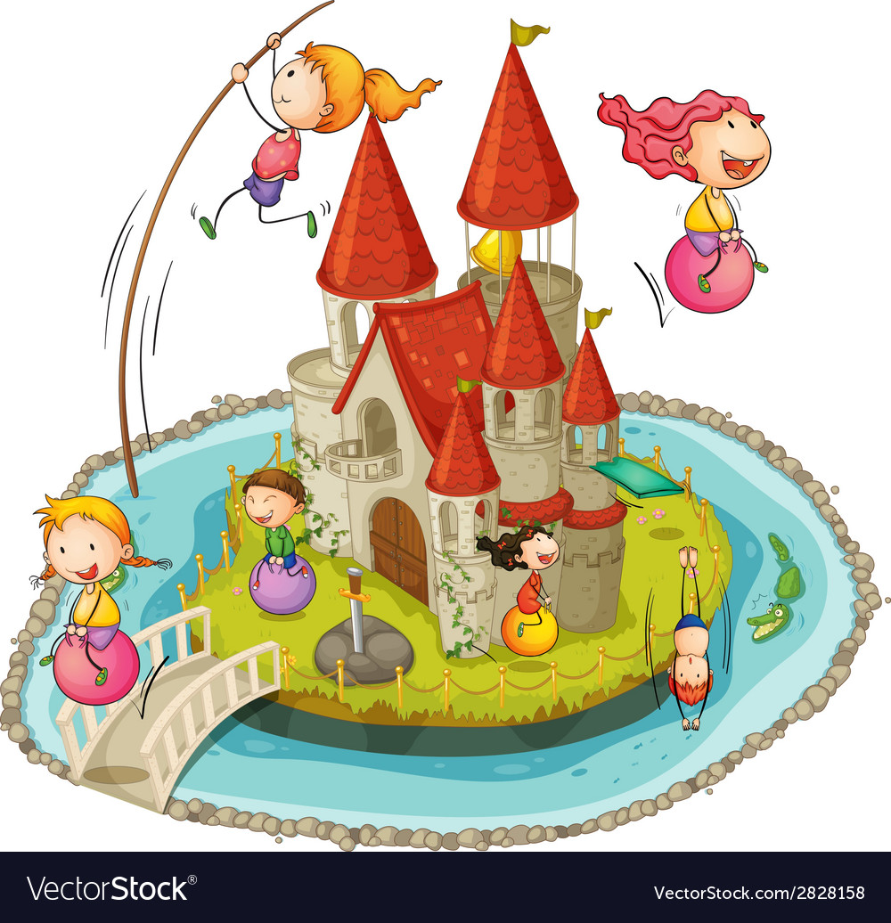 Castle and children vector | Price: 1 Credit (USD $1)