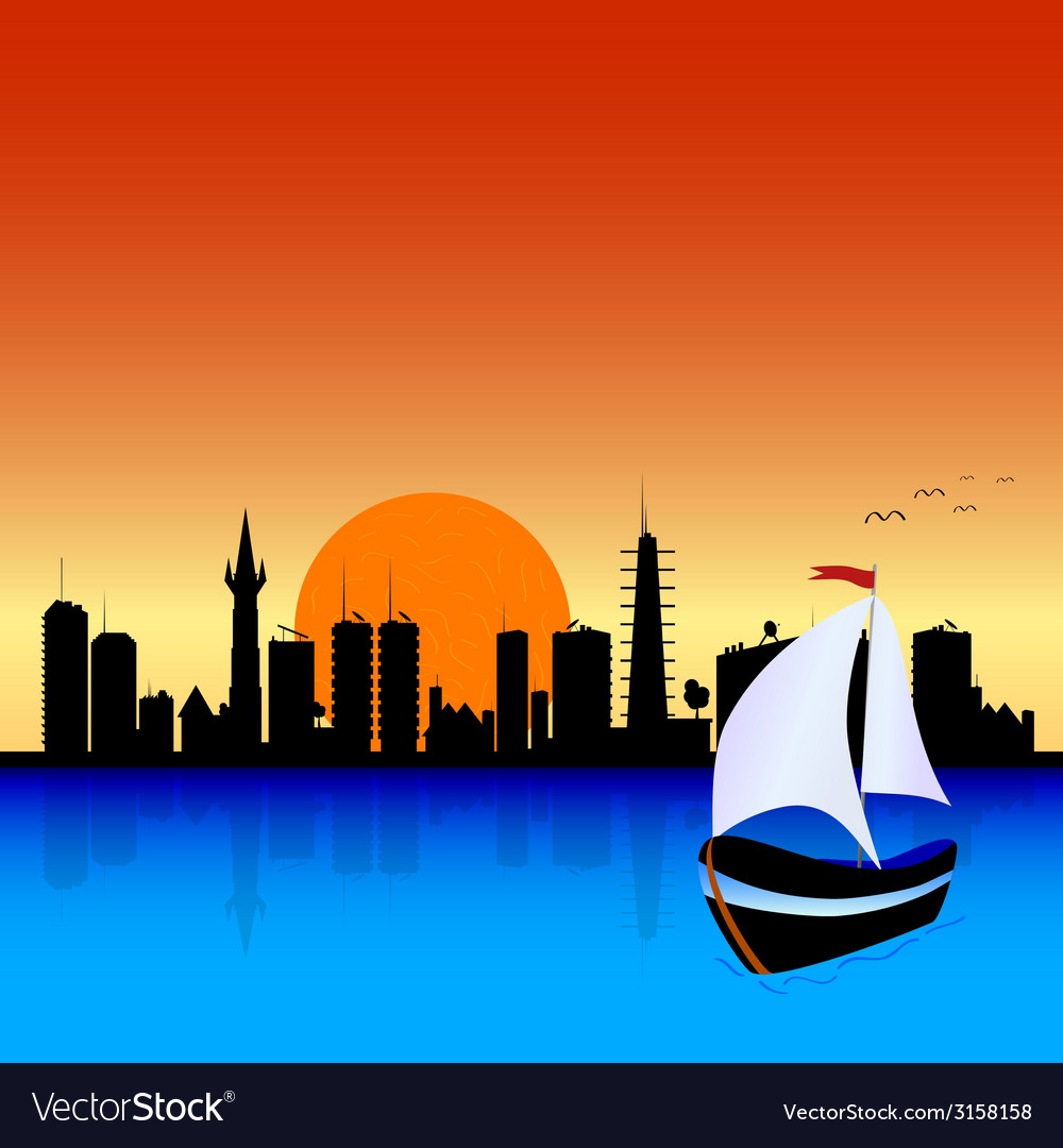 City with boat vector | Price: 1 Credit (USD $1)