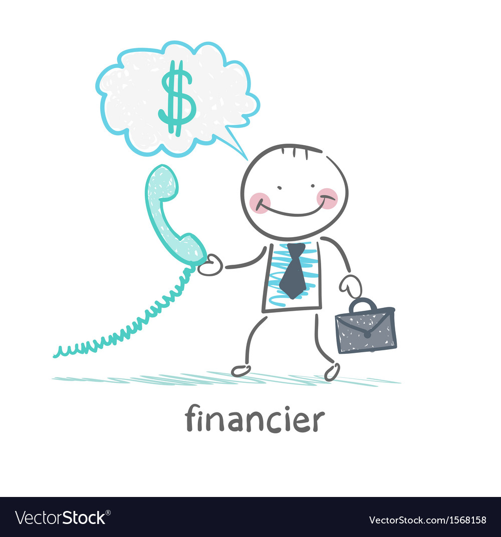 Financier talking on the phone and thinks about vector | Price: 1 Credit (USD $1)