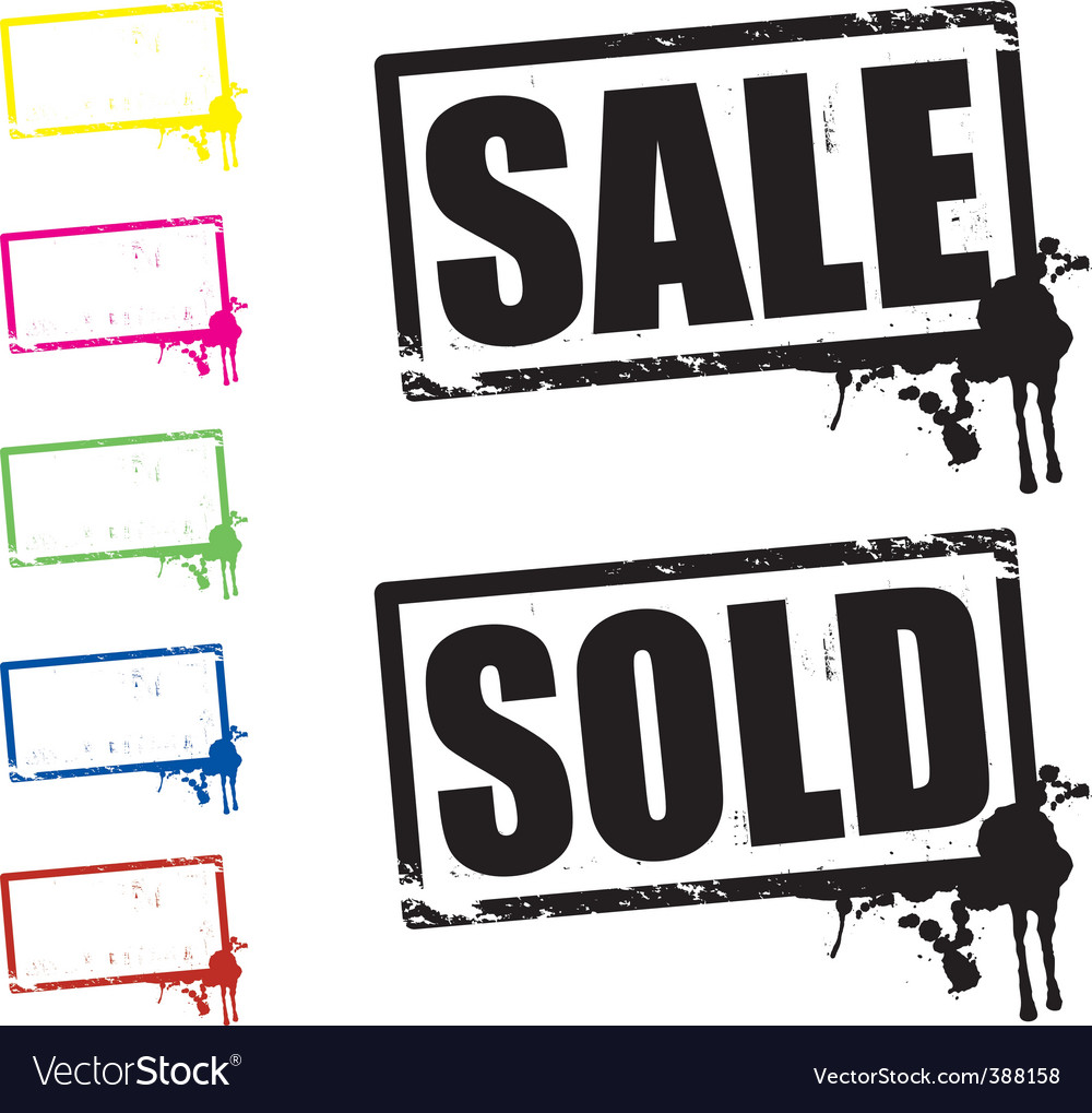 Sale and sold signs vector | Price: 1 Credit (USD $1)