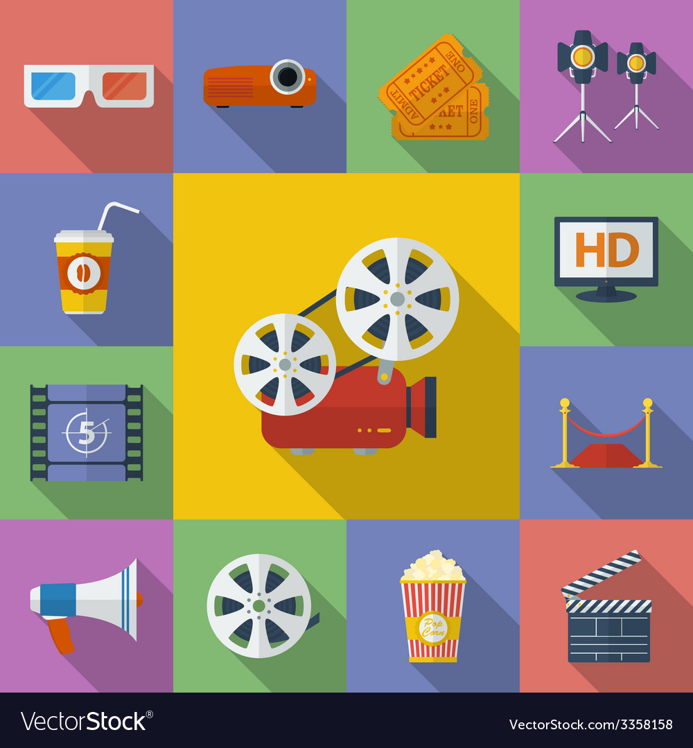 Set of cinema movie icons flat style vector | Price: 1 Credit (USD $1)